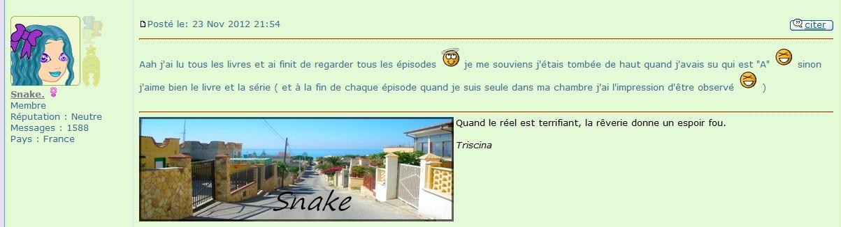 Screen avis de Snake sur Pretty Little Liars