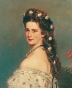 Détail du portrait de l'Impératrice Elisabeth par Franz Winterhalter