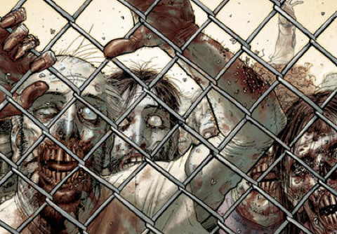 Groupe de zombies dans le comic the walking dead