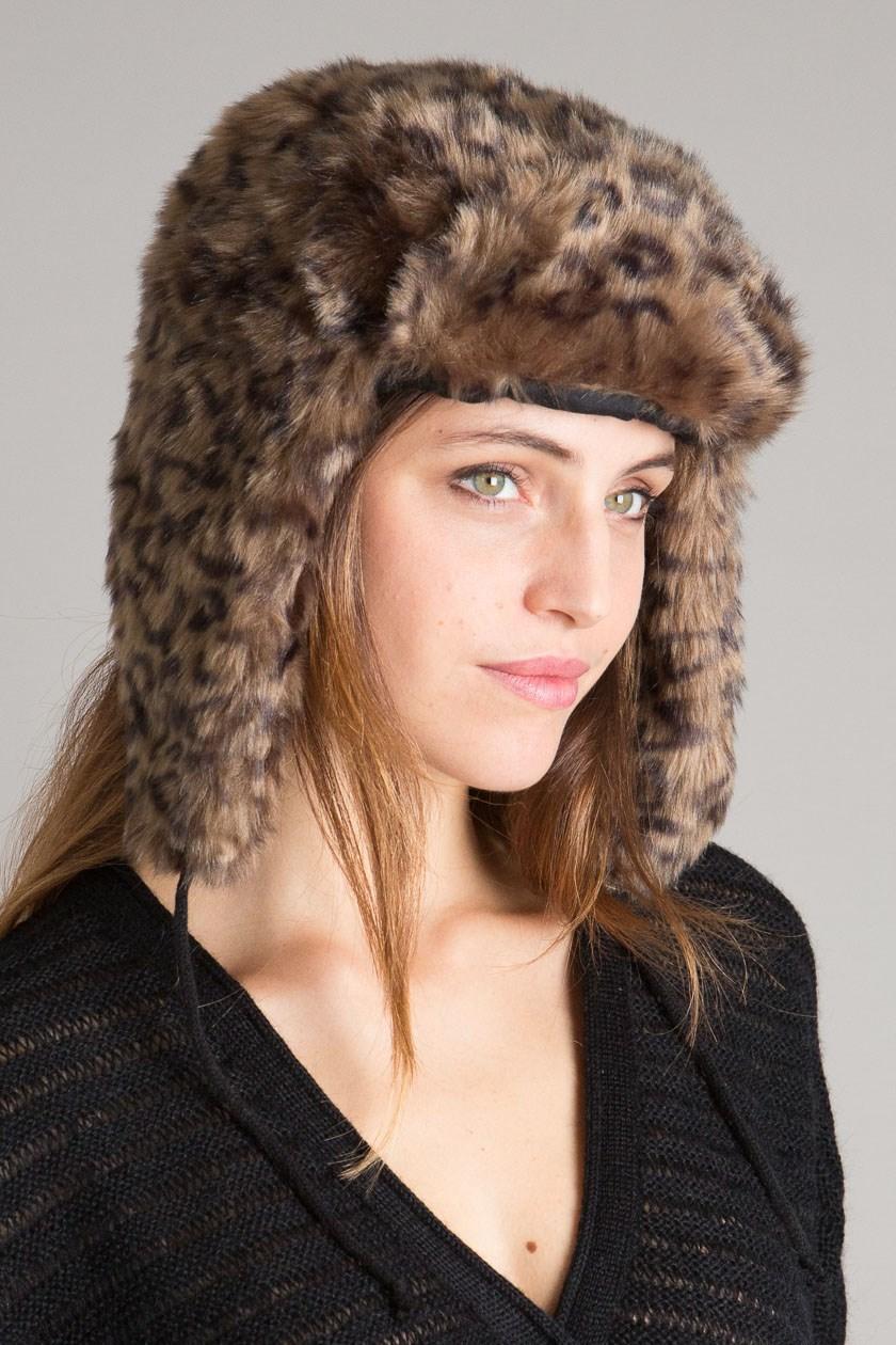 bonnet chapka femme imitation léopard disponible chez bonobo