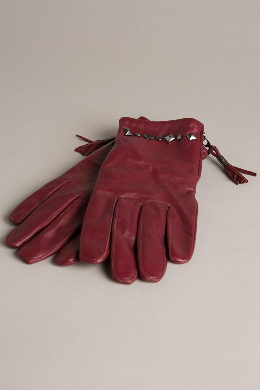 gants en cuir pour femme avec clous fantaisies