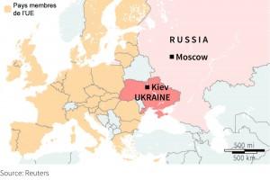 Cette carte explique bien la crise ukrainienne puisqu'elle montre que l'Ukraine est bel et bien prise entre deux puissances.