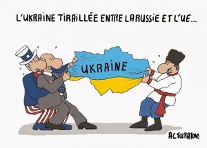 Il s'agit d'une caricature qui illustre bien la cause de la crise ukrainienne.
