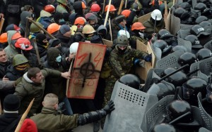 Ce sont des manifestations en Ukraine lors de la crise ukrainienne.