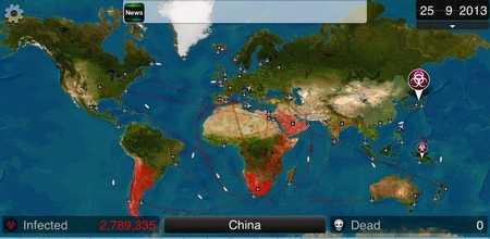 Carte interactive pour jouer à Plague inc.