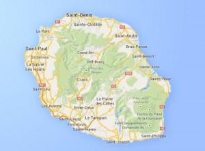 Carte de l'île de la Réunion