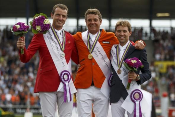 Championnats Europe équitation saut d'obstacles podium Aachen 2015