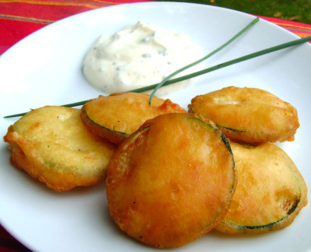 Beignets courgettes jaune d'oeuf