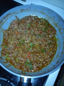 Burritos préparation boeuf après réduction