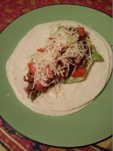 Burritos avant de le rouler