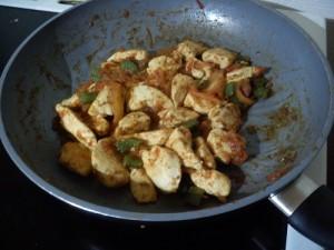 Fajitas préparation poulet réduit