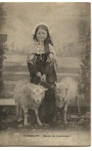 début des années 1900 fillete et ses deux brebis (jeune à sa droite et adulte à sa gauche) - copie