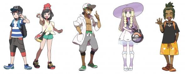 Quelques personnages du jeu Pokémon Soleil et Lune