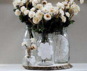 décoration-pot-confiture-verre-dentelle pour plantes d'intérieur
