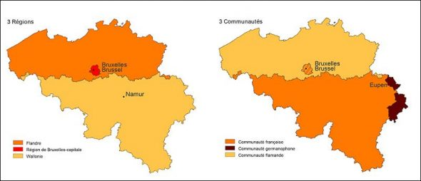 Carte des régions et des communautés de Belgique