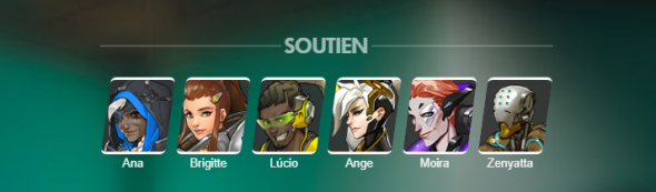 Les six héros de soutien