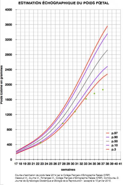 Courbe standard d'estimation du poids foetal