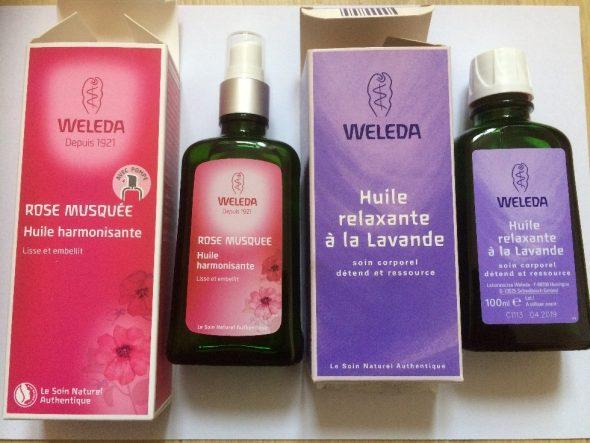 Huile de massage lavande et rose musquée Weleda