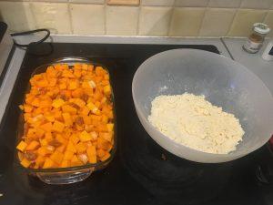 Butternut et crumble dans un plat
