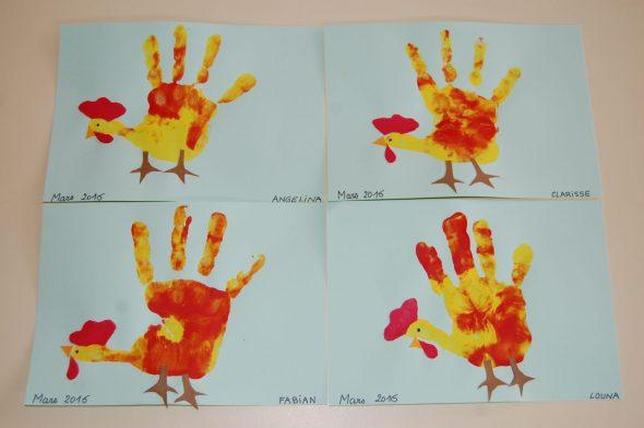 Bricolage pâques poule main enfant