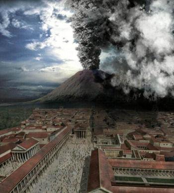 Pompéi, l'éruption du Vésuve.