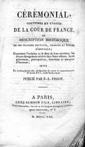 Livre retraçant une partie du cérémonial en vigueur à la cour de France, disponible à la Bibliothèque de France