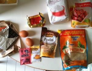 Ingrédients pour la recette de cookies