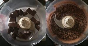 Chocolat dans le robot mixeur