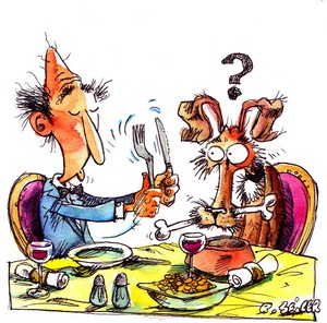 Image humoristique illustrant un repas d'un maître et son chien
