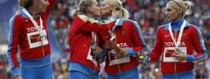 Athlètes russes protestant contre la loi homophobe aux championnats du monde d'athlétisme