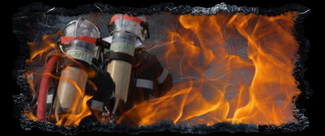 Pompier bravant les flammes