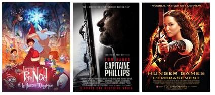 Affiche de l'apprenti père noël et le flocon magique, capitaine Phillipps et Hunger Games l'embrasement