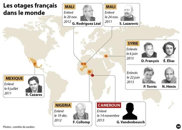 Carte des otages Français dans le monde