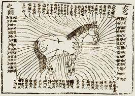 Il s'agit d'un schéma dessiné par les premiers acupuncteurs vétérinaires