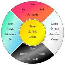 Il s'agit d'un schéma illustrant les 5 éléments présents dans l'acupuncture équine