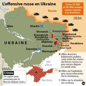 On voit sur cette carte les villes en Ukrainne où les pro-russes dominent lors de la crise ukrainienne.