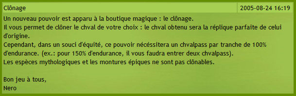 Clonage MonChval 2005