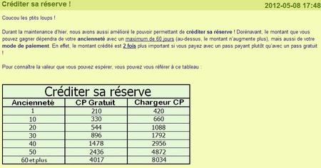 Créditer sa réserve MonChval 2012