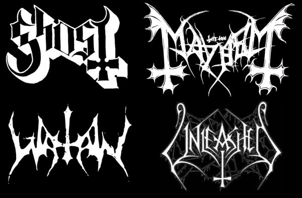 logos de groupes de metal avec la croix inversée