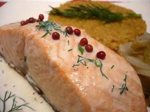 saumon sauce aux 5 baies