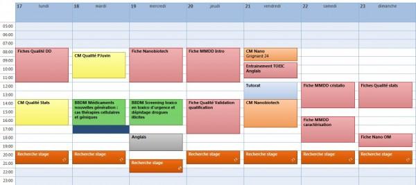 Exemple planning de travail