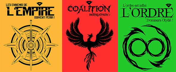Visuels de trois t-shirts aux couleurs de Noob