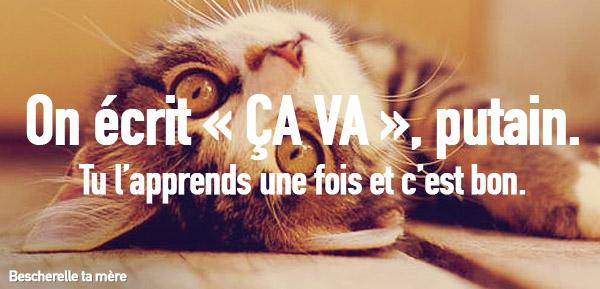 """chaton qui explique comment on écrit """"ça va"""""""