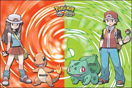 Les deux héros des versions Pokémon Rouge Feu et Vert Feuille
