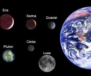 terre et objets système solaire (Eris, Sedna, Quaoar, Pluton, Cérès et la Lune)