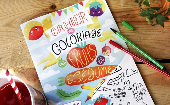 cahier coloriage fruits et légumes