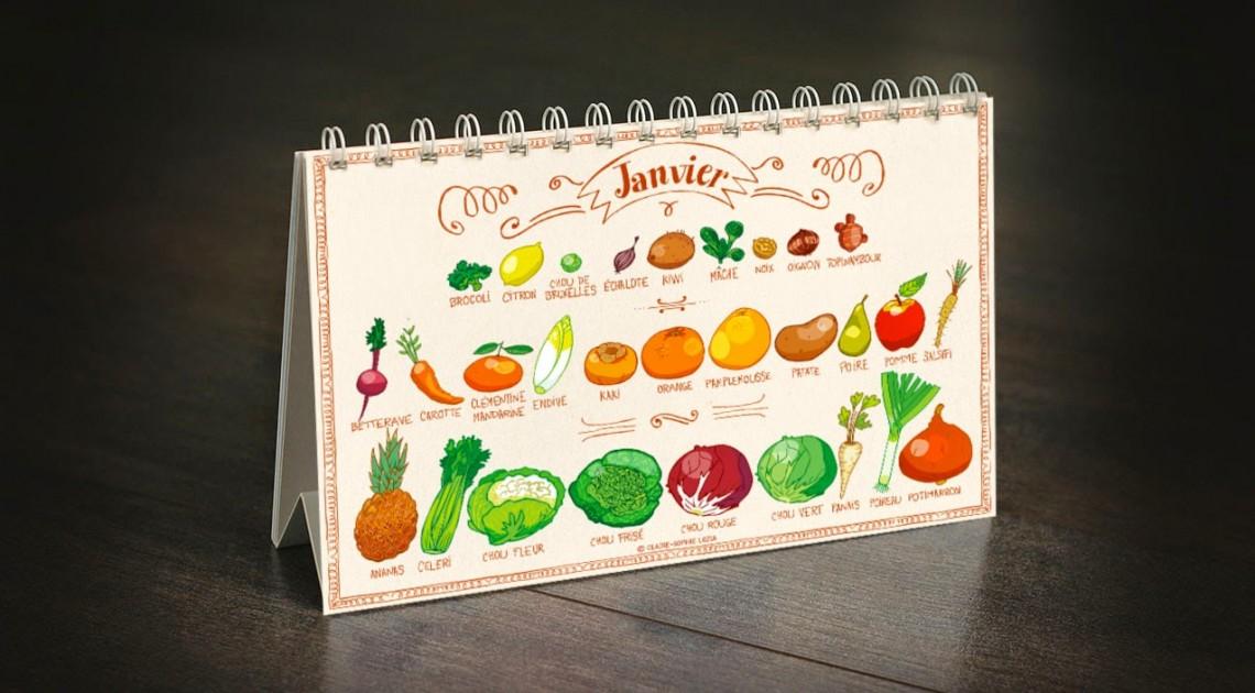 Le calendrier de fruits et légumes de Claire-Sophie Pissenlit
