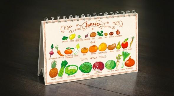 calendrier de bureau fruits et légumes