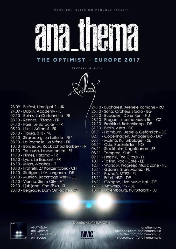 Affiche de la tournée européenne The Optimist d'Anathema