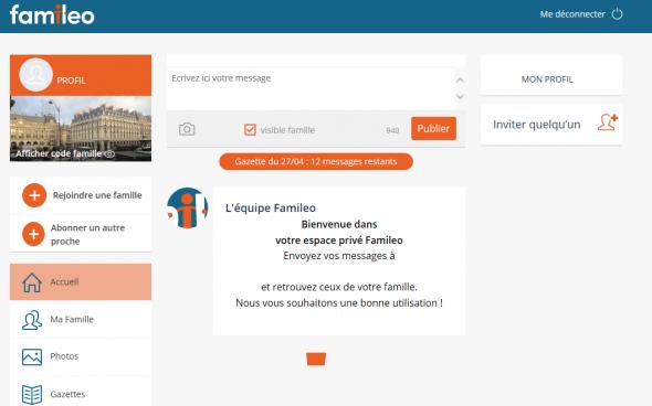 Capture d'écran du site internet Famileo